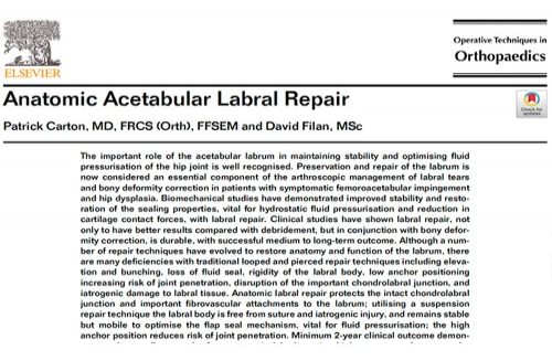 Anatomic Acetabular Labral Repair