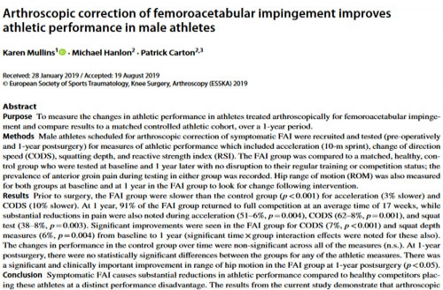Arthroscopic correction of femoroacetabular impingement improves athletic performance in male athletes