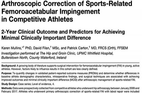 Arthroscopic Correction of Sports-Related Femoroacetabular Impingement in Competitive Athletes
