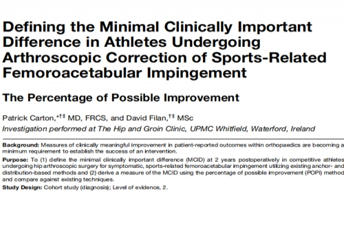 Defining the Minimal Clinically Important Difference in Athletes Undergoing Arthroscopic Correction of Sports-Related Femoroacetabular Impingement