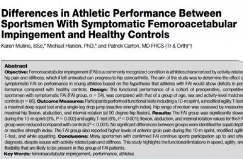 Differences in Athletic Performance Between Sportsmen With Symptomatic Femoroacetabular Impingement and Healthy Controls