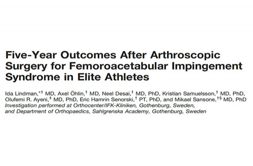 Five-Year Outcomes After Arthroscopic Surgery for Femoroacetabular Impingement Syndrome in Elite Athletes.