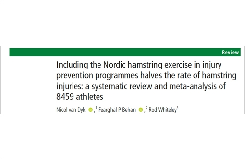 Including the Nordic hamstring exercise in injury prevention programmes halves the rate of hamstring injuries: a systematic review and meta-analysis of 8459 athletes