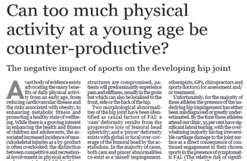 Can too much physical activity at a young age be counter-productive?