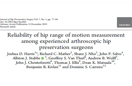 Reliability of hip range of motion measurement among experienced arthroscopic hip preservation surgeons