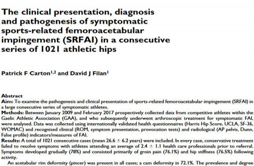 The clinical presentation, diagnosis and pathogenesis of symptomatic sports-related femoroacetabular impingement (SRFAI) in a consecutive series of 1021 athletic hips